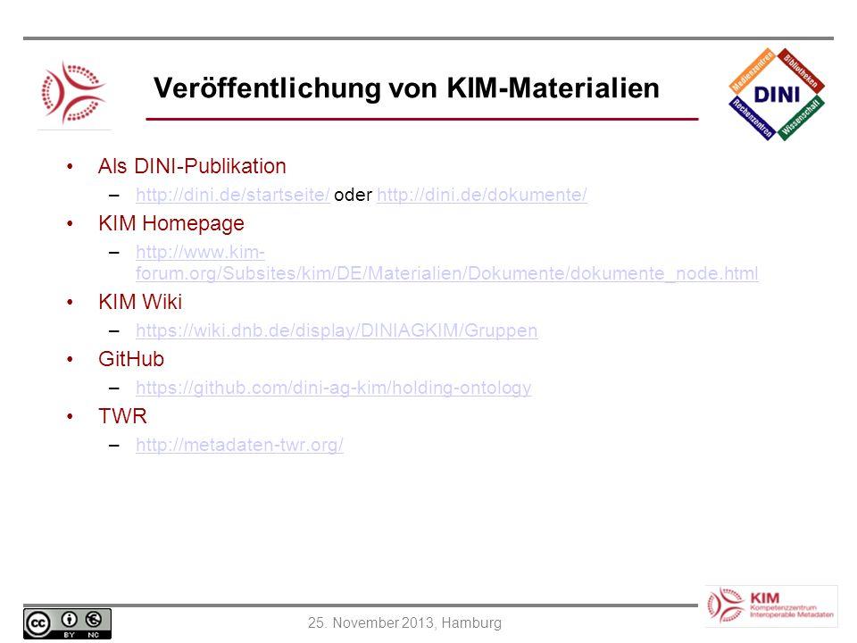 Veröffentlichung von KIM-Materialien