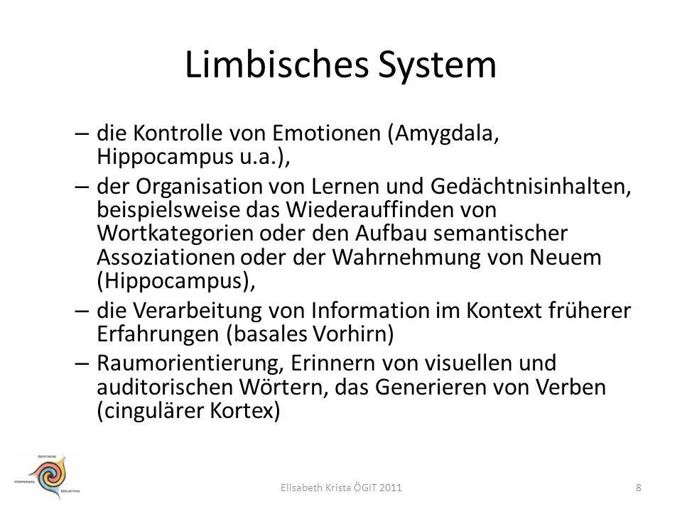 Limbisches System die Kontrolle von Emotionen (Amygdala, Hippocampus u.a.),