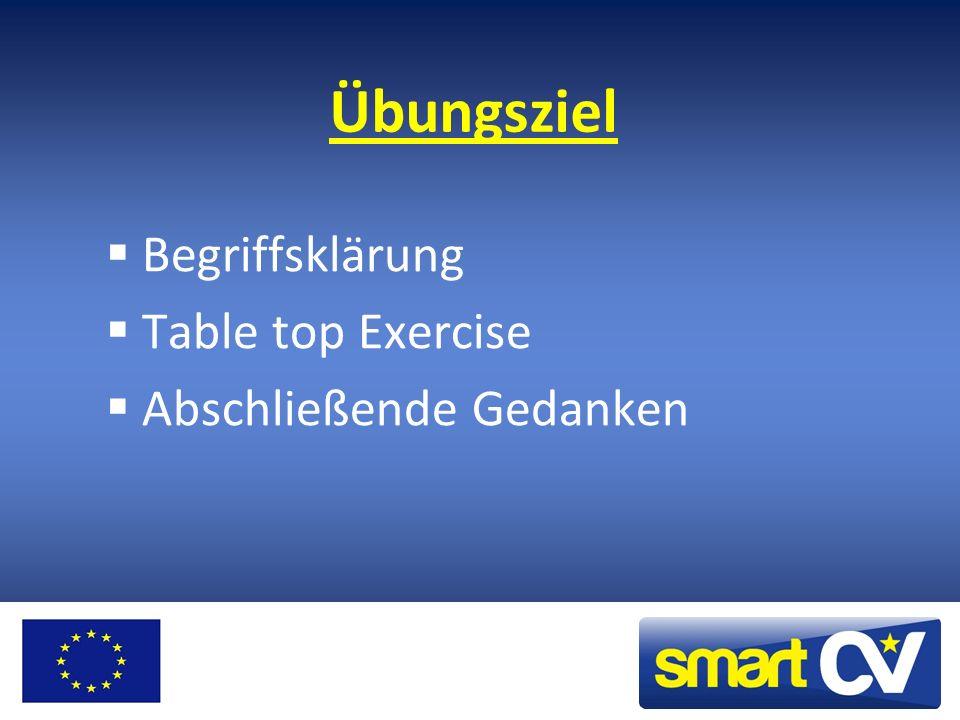 Übungsziel Begriffsklärung Table top Exercise Abschließende Gedanken