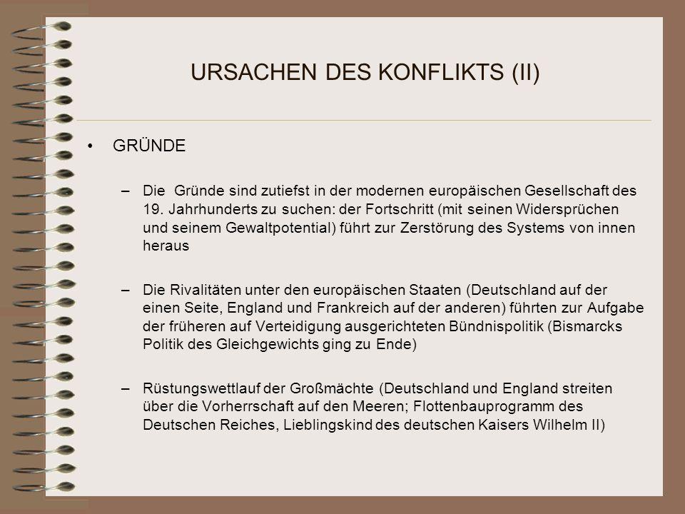 URSACHEN DES KONFLIKTS (II)