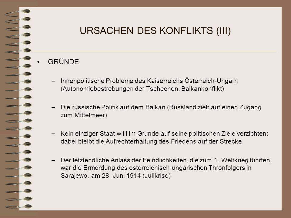 URSACHEN DES KONFLIKTS (III)