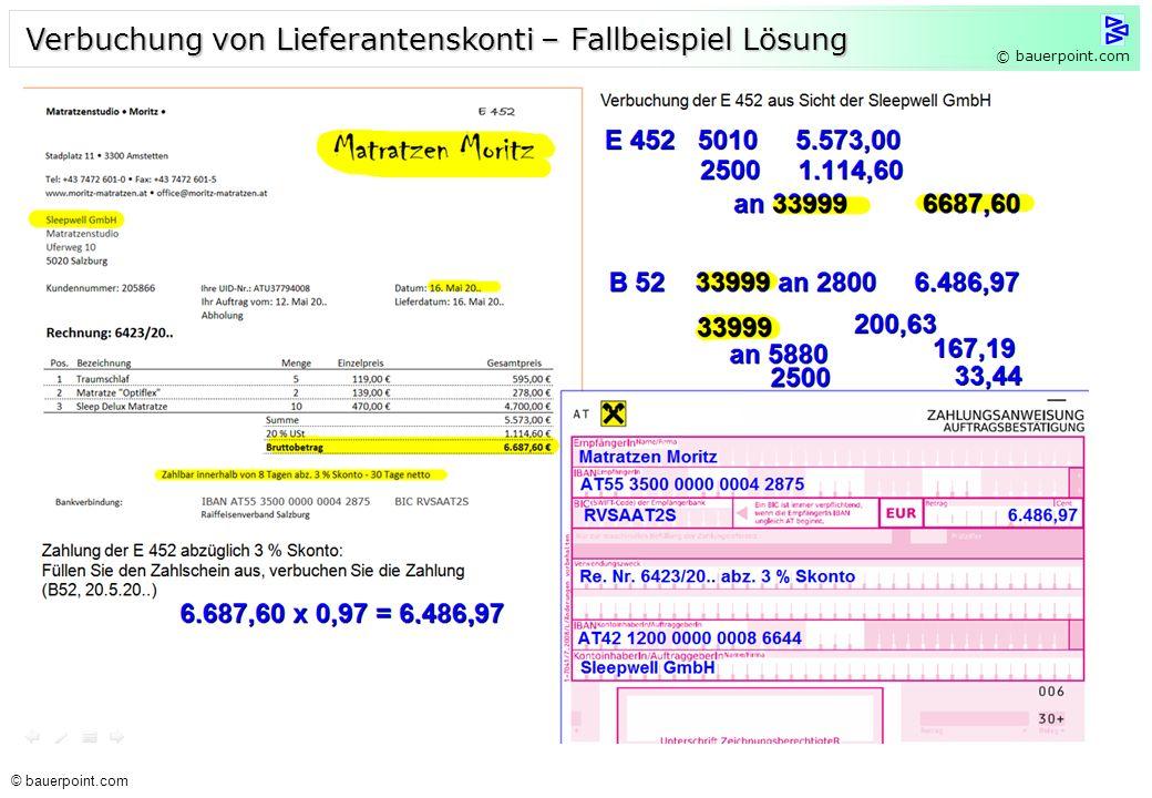 Verbuchung von Lieferantenskonti – Fallbeispiel Lösung