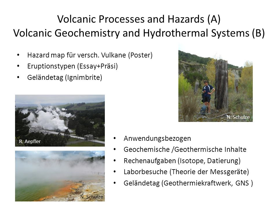 Volcanic Processes and Hazards (A) Volcanic Geochemistry and Hydrothermal Systems (B)
