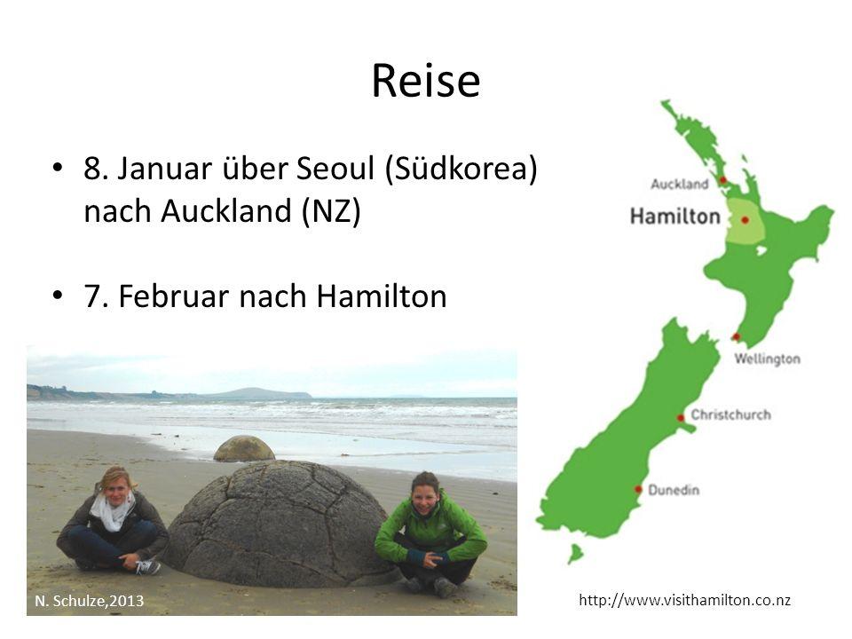 Reise 8. Januar über Seoul (Südkorea) nach Auckland (NZ)