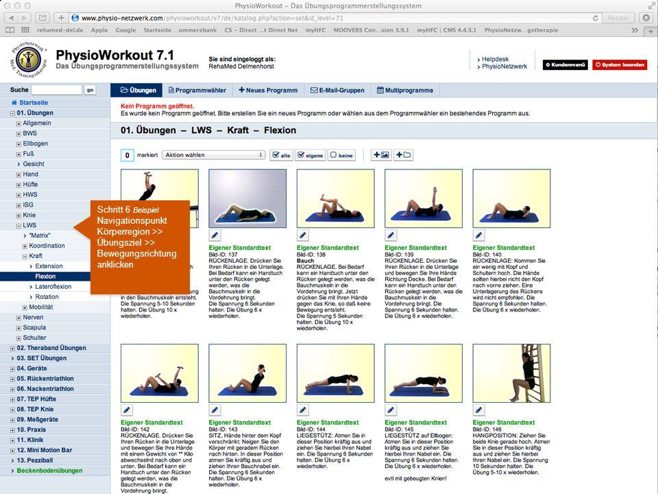 Schritt 6 Beispiel Navigationspunkt Körperregion >> Übungsziel >> Bewegungsrichtung anklicken