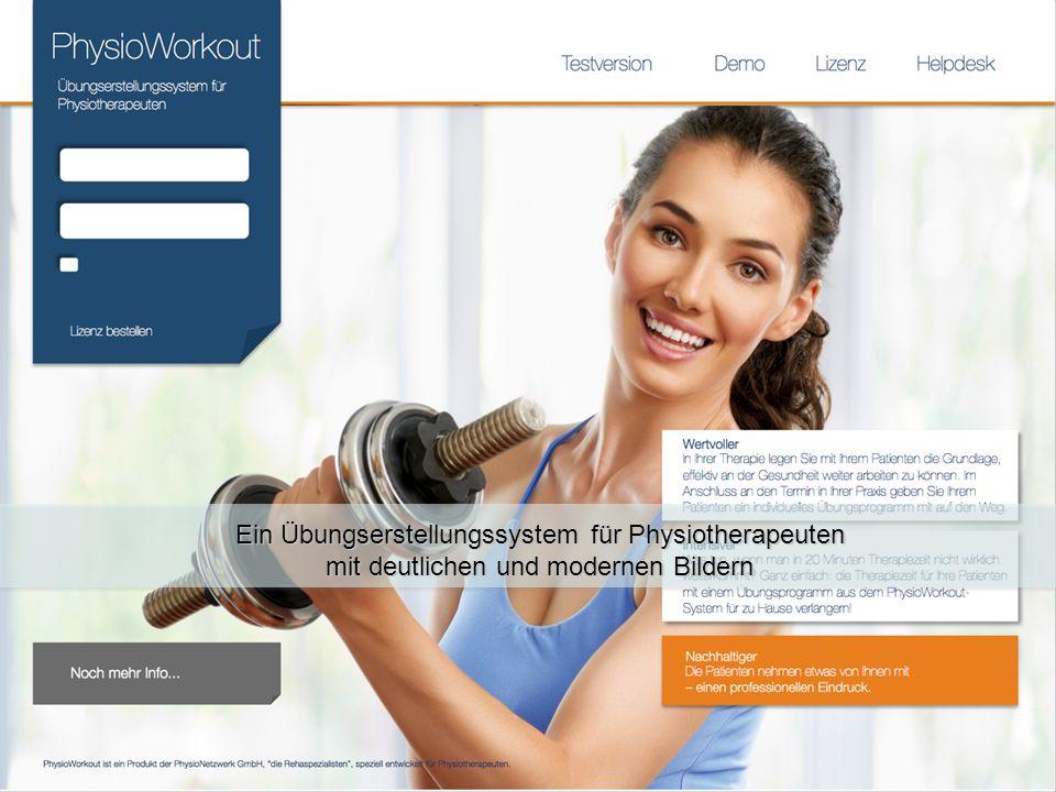 Ein Übungserstellungssystem für Physiotherapeuten mit deutlichen und modernen Bildern