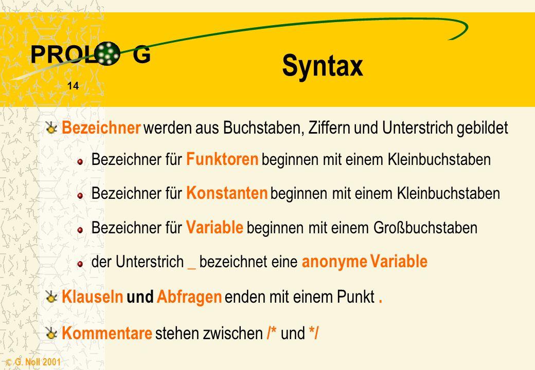 Syntax Bezeichner werden aus Buchstaben, Ziffern und Unterstrich gebildet. Bezeichner für Funktoren beginnen mit einem Kleinbuchstaben.