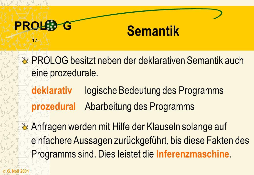 Semantik PROLOG besitzt neben der deklarativen Semantik auch eine prozedurale. deklarativ logische Bedeutung des Programms.