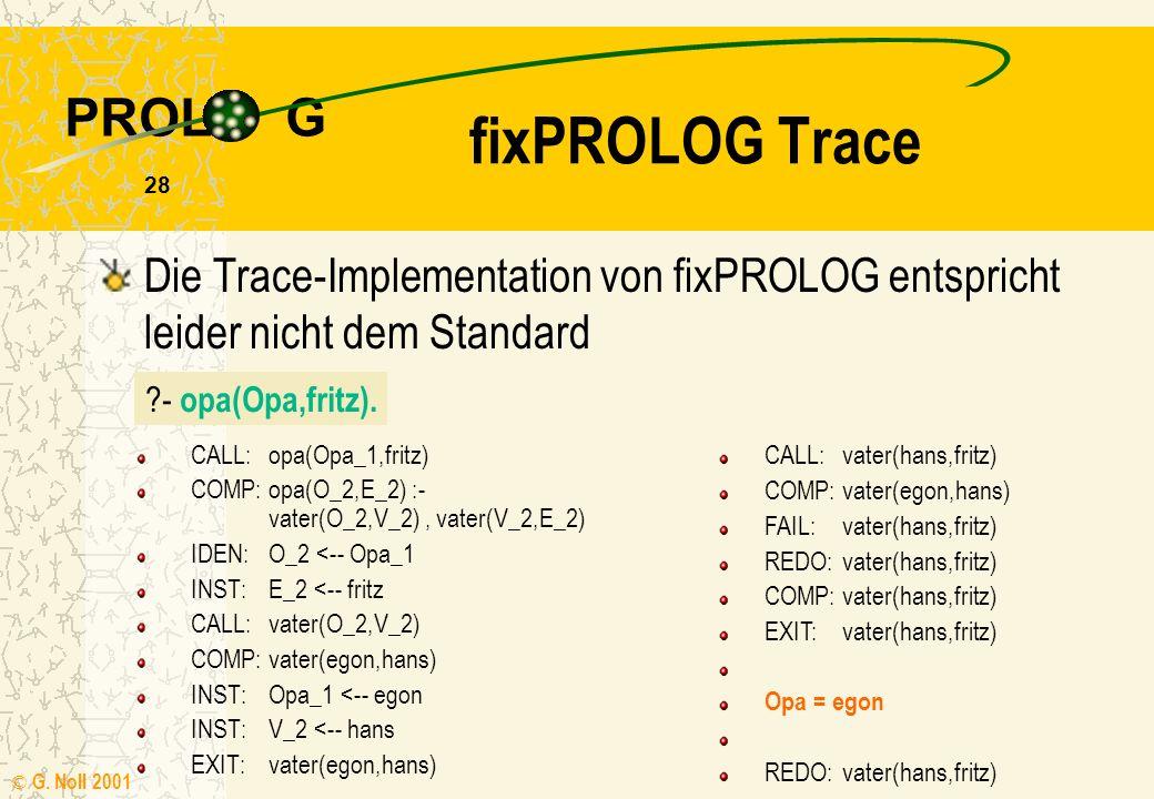 fixPROLOG Trace Die Trace-Implementation von fixPROLOG entspricht leider nicht dem Standard. - opa(Opa,fritz).