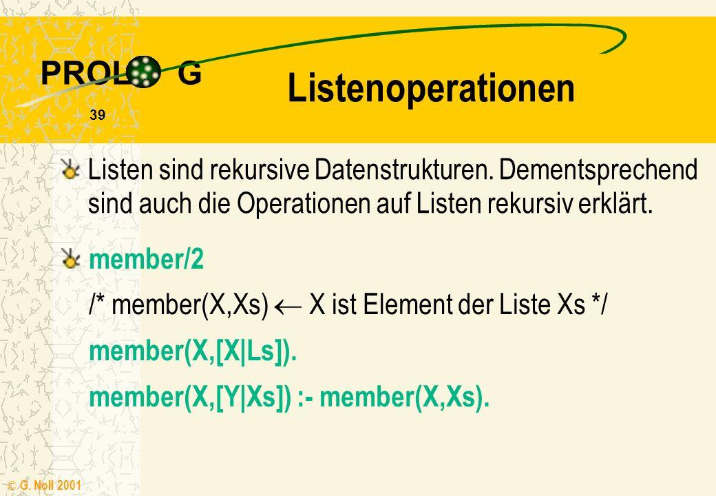 Listenoperationen Listen sind rekursive Datenstrukturen. Dementsprechend sind auch die Operationen auf Listen rekursiv erklärt.