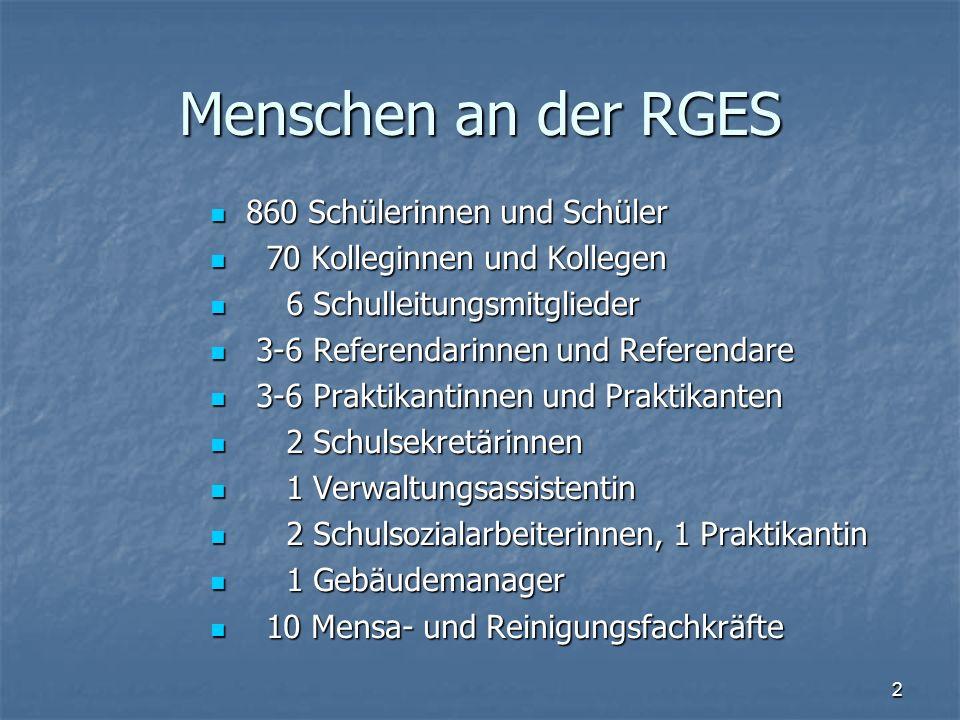 Menschen an der RGES 860 Schülerinnen und Schüler