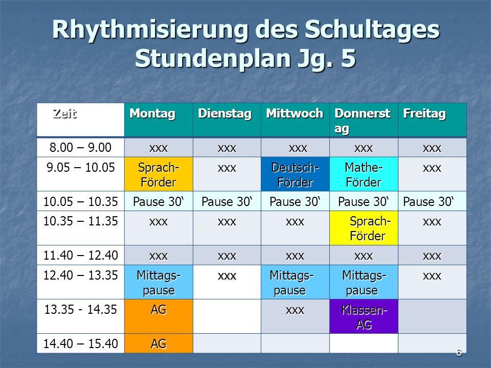 Rhythmisierung des Schultages Stundenplan Jg. 5