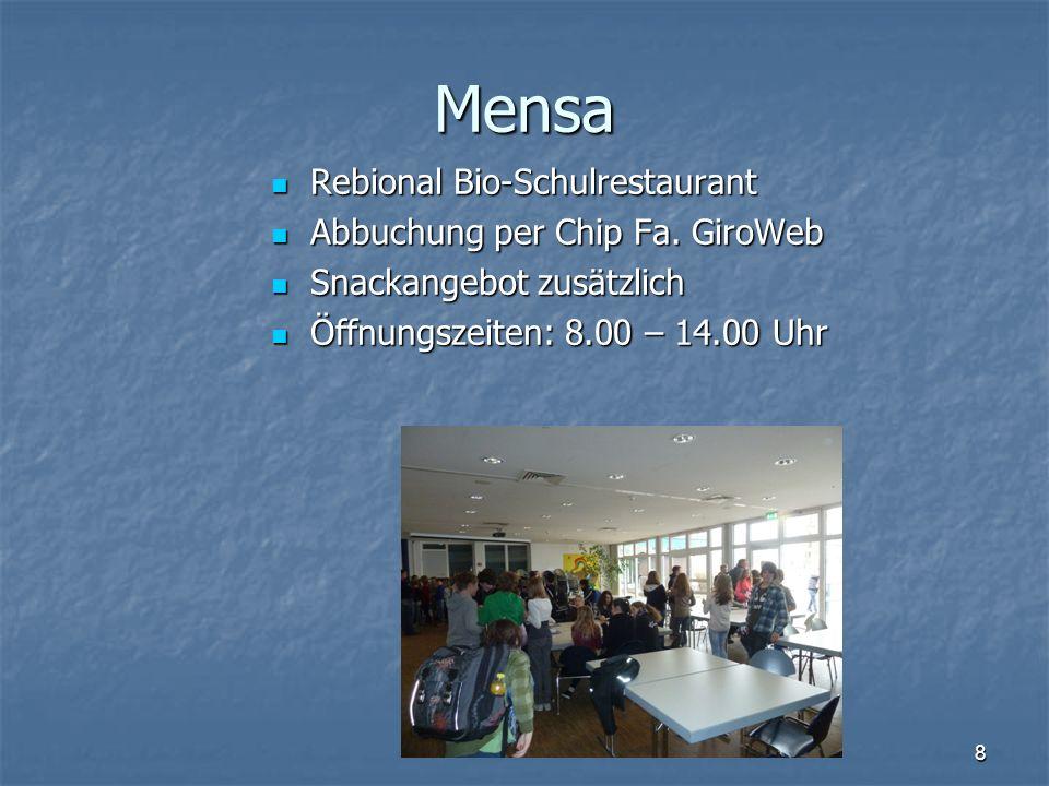 Mensa Rebional Bio-Schulrestaurant Abbuchung per Chip Fa. GiroWeb