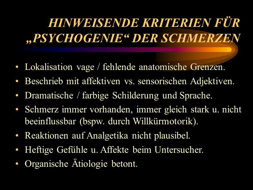 """HINWEISENDE KRITERIEN FÜR """"PSYCHOGENIE DER SCHMERZEN"""
