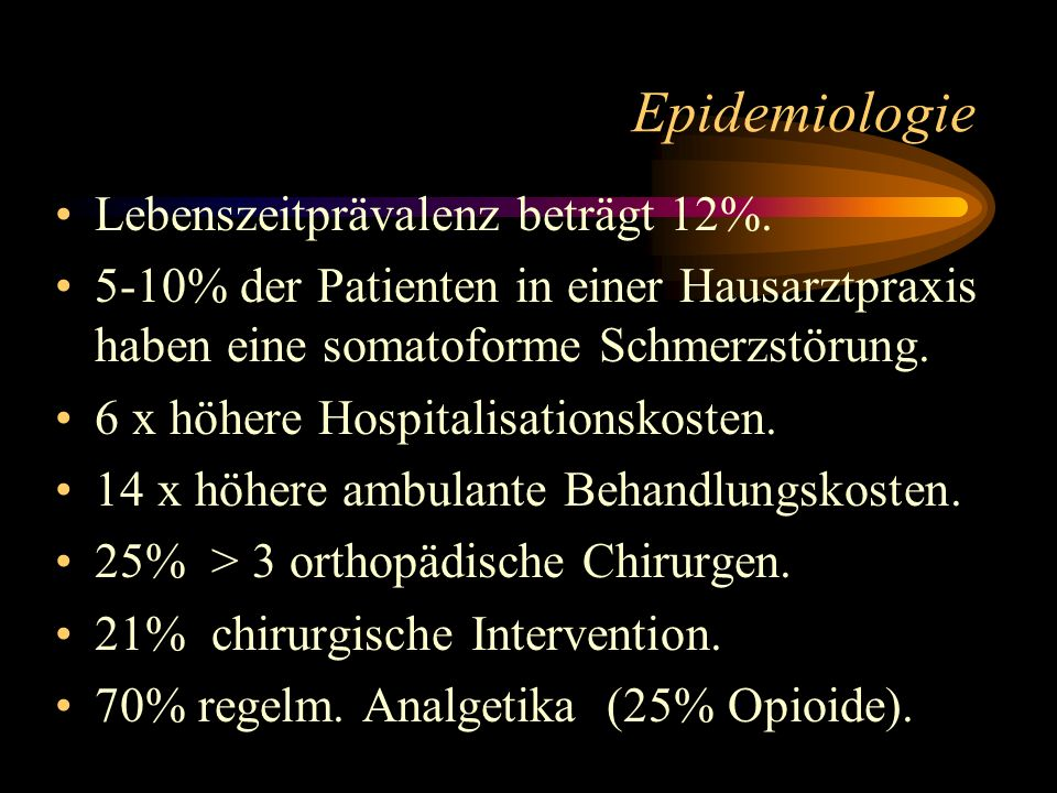 Epidemiologie Lebenszeitprävalenz beträgt 12%.