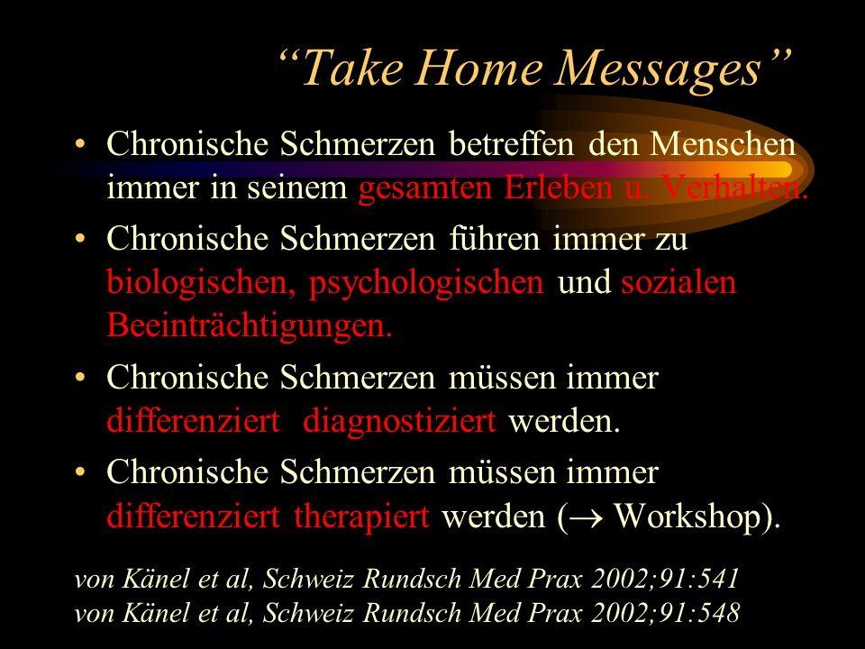 Take Home Messages Chronische Schmerzen betreffen den Menschen immer in seinem gesamten Erleben u. Verhalten.