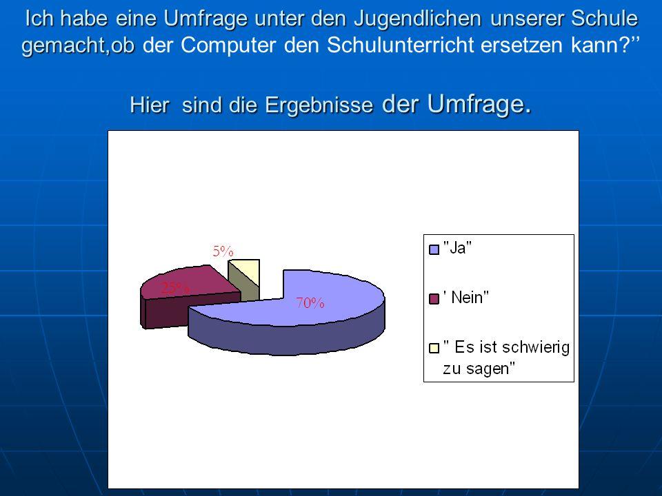 Ich habe eine Umfrage unter den Jugendlichen unserer Schule gemacht,ob der Computer den Schulunterricht ersetzen kann '' Hier sind die Ergebnisse der Umfrage.