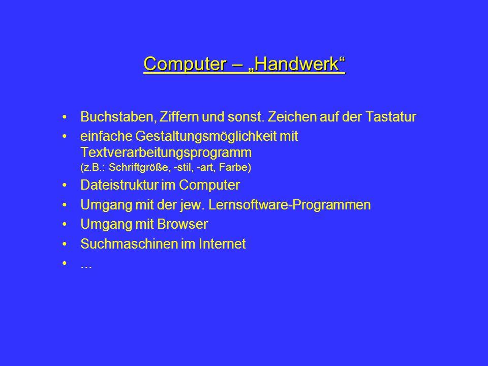 """Computer – """"Handwerk Buchstaben, Ziffern und sonst. Zeichen auf der Tastatur."""