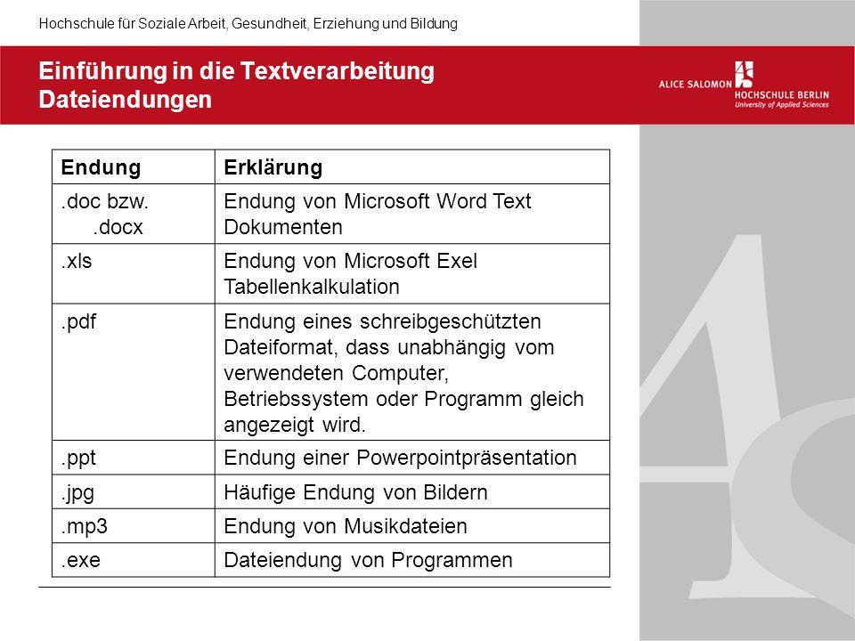 Einführung in die Textverarbeitung Dateiendungen