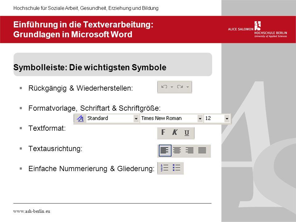 Einführung in die Textverarbeitung: Grundlagen in Microsoft Word