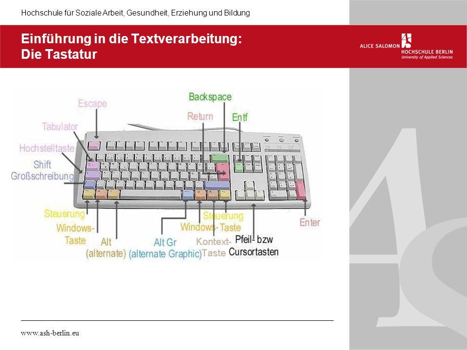 Einführung in die Textverarbeitung: Die Tastatur