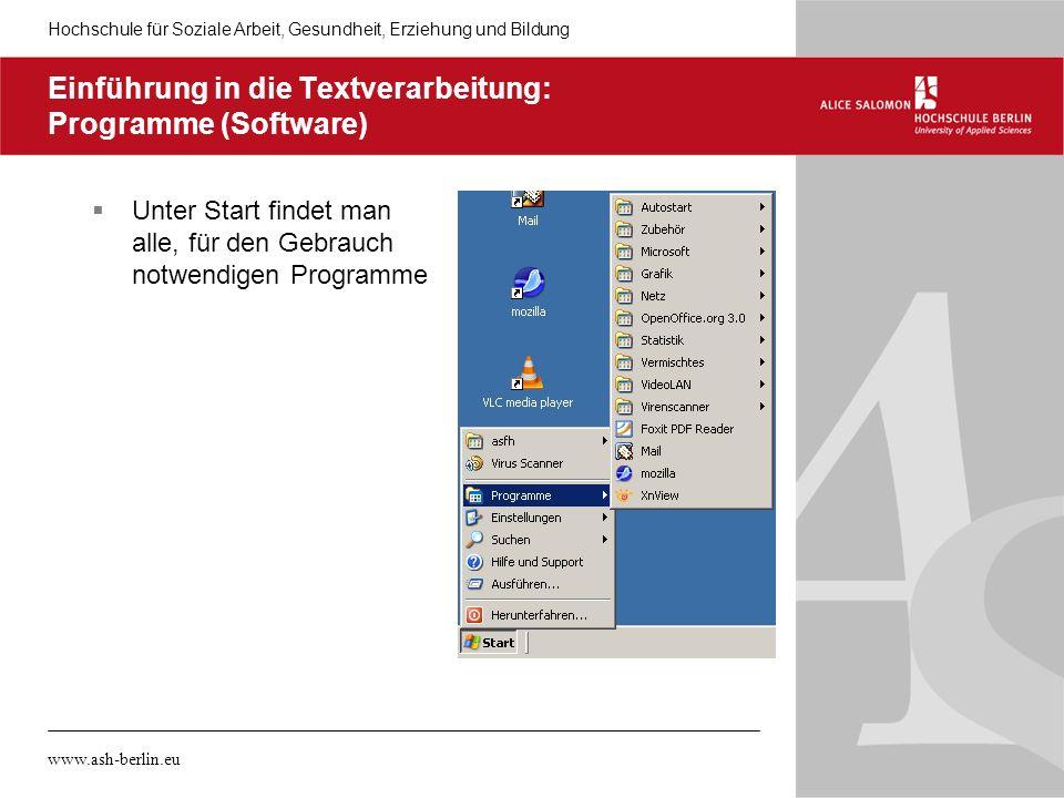 Einführung in die Textverarbeitung: Programme (Software)