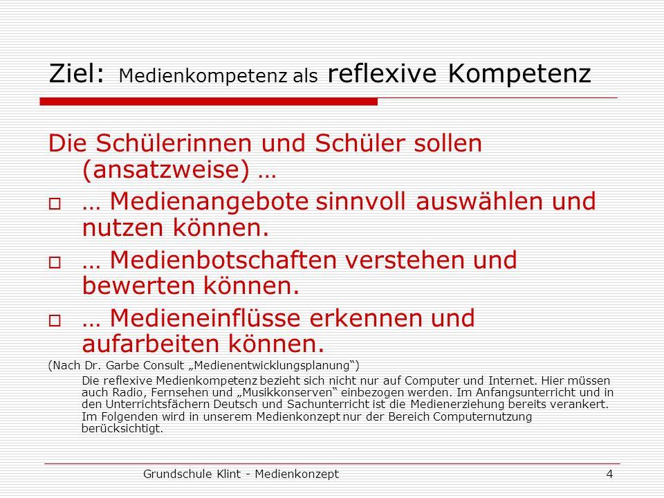 Ziel: Medienkompetenz als reflexive Kompetenz