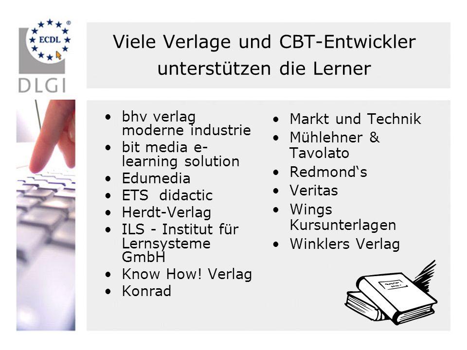Viele Verlage und CBT-Entwickler unterstützen die Lerner