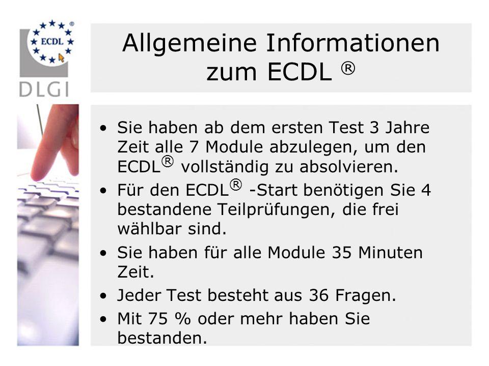 Allgemeine Informationen zum ECDL ®