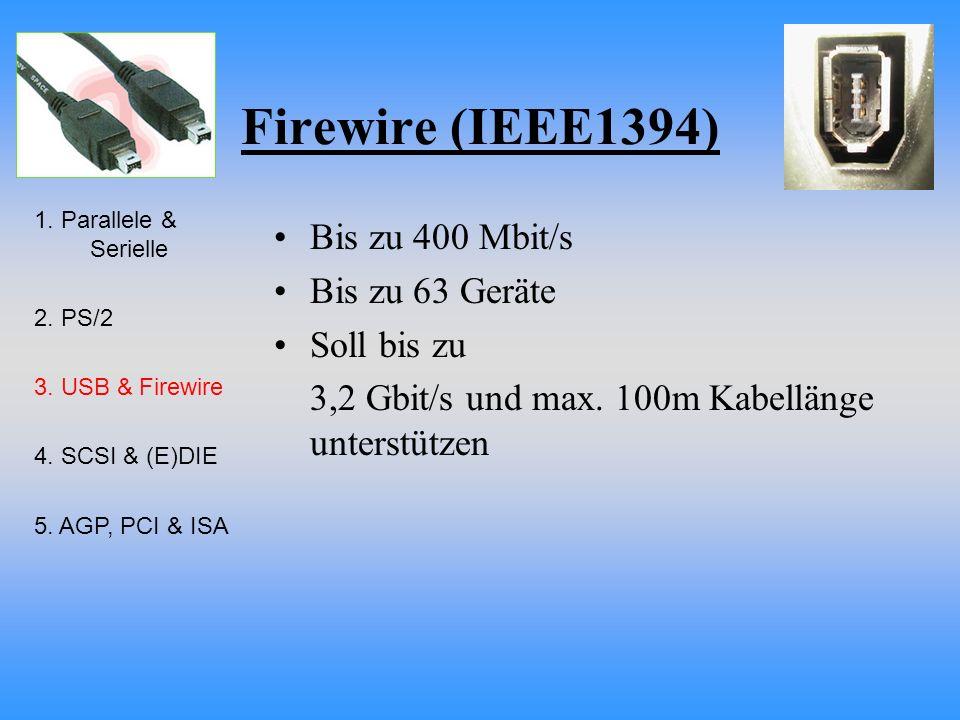 Firewire (IEEE1394) Bis zu 400 Mbit/s Bis zu 63 Geräte Soll bis zu