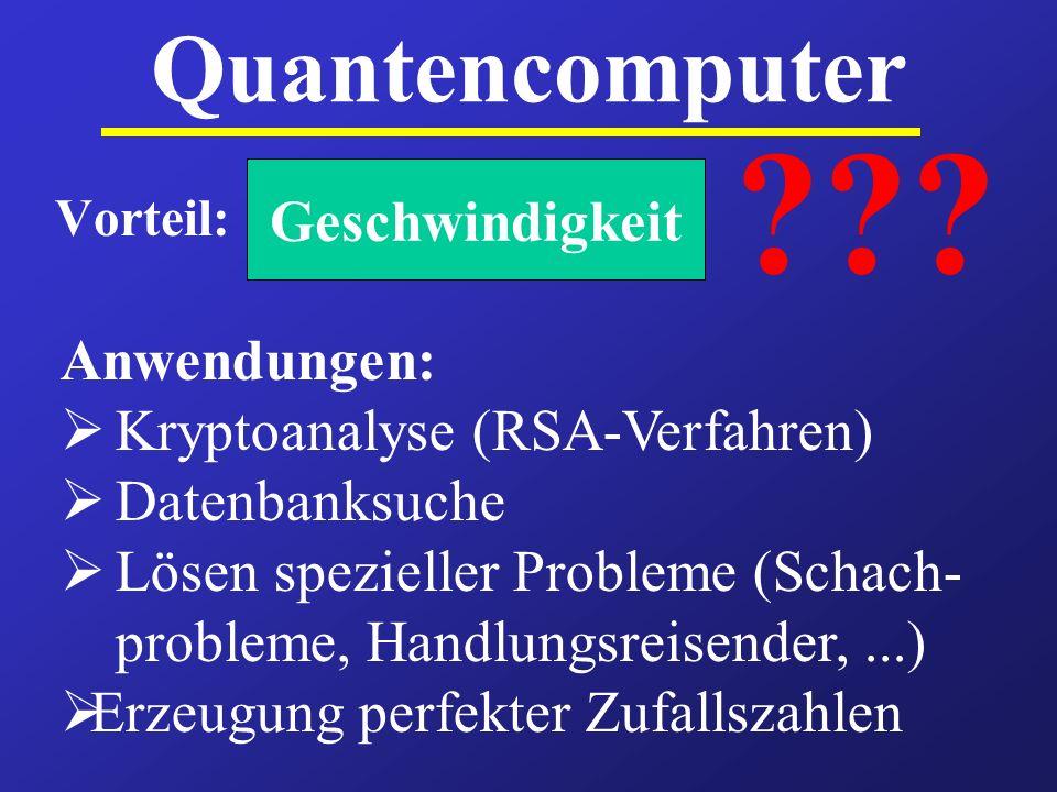 Quantencomputer Geschwindigkeit Anwendungen: