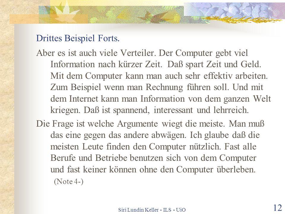 Drittes Beispiel Forts.