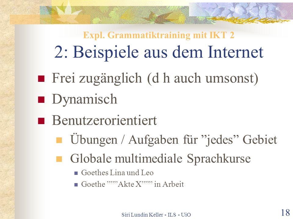 Expl. Grammatiktraining mit IKT 2 2: Beispiele aus dem Internet