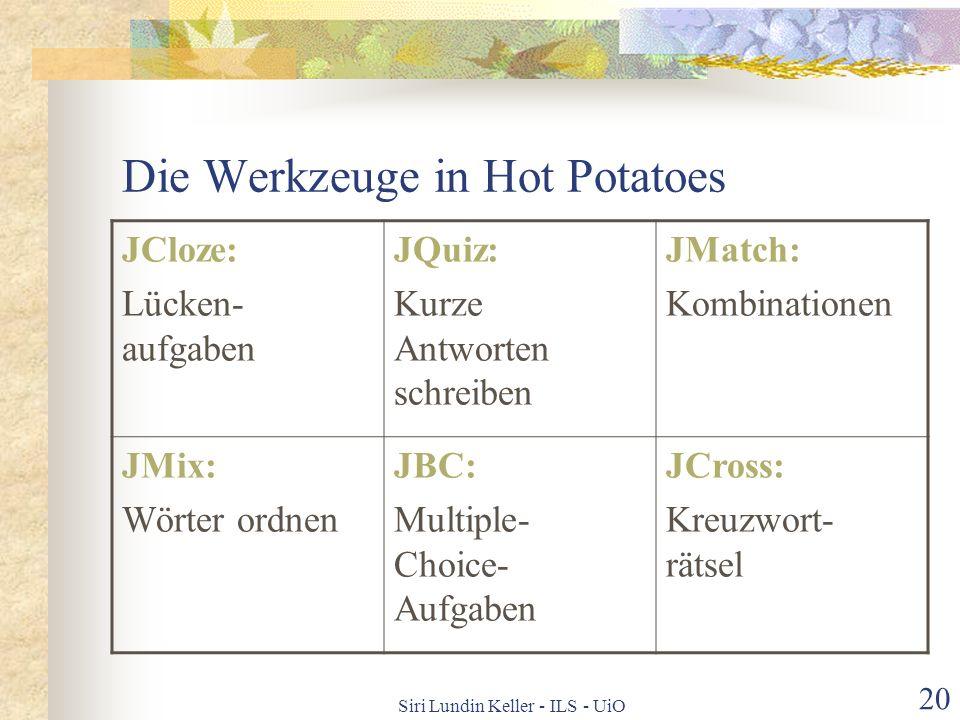 Die Werkzeuge in Hot Potatoes