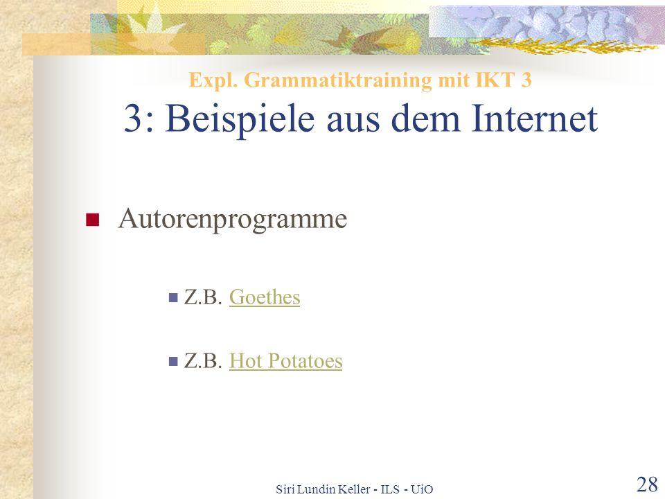 Expl. Grammatiktraining mit IKT 3 3: Beispiele aus dem Internet
