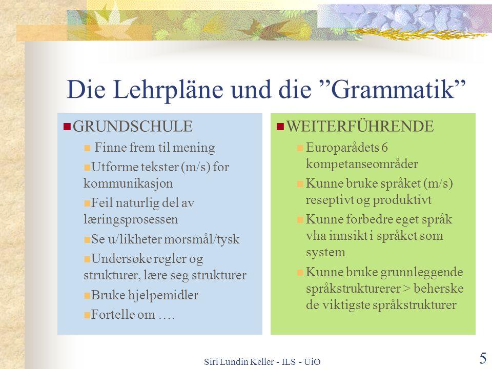 Die Lehrpläne und die Grammatik
