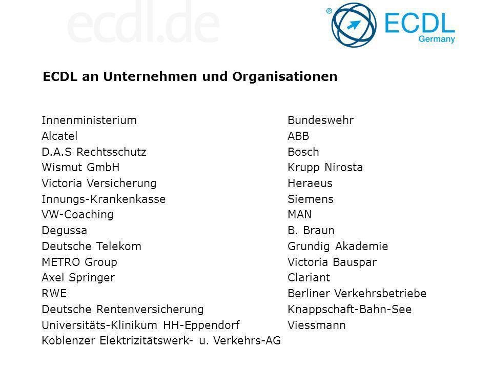 ECDL an Unternehmen und Organisationen