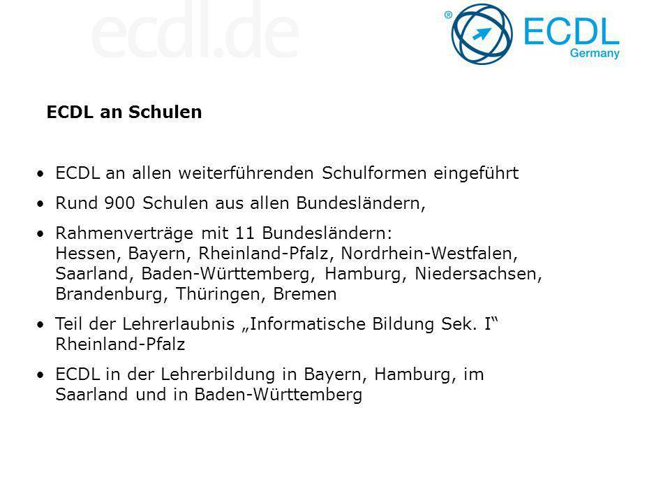 ECDL an Schulen ECDL an allen weiterführenden Schulformen eingeführt. Rund 900 Schulen aus allen Bundesländern,