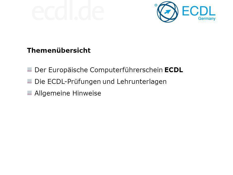 Themenübersicht Der Europäische Computerführerschein ECDL.