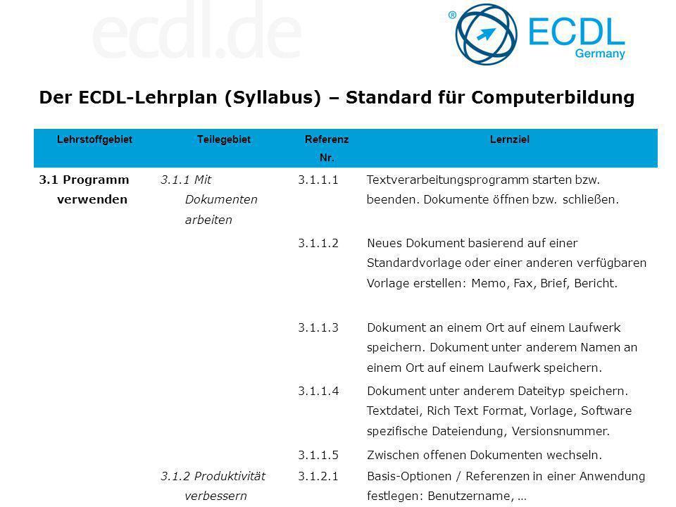 Der ECDL-Lehrplan (Syllabus) – Standard für Computerbildung