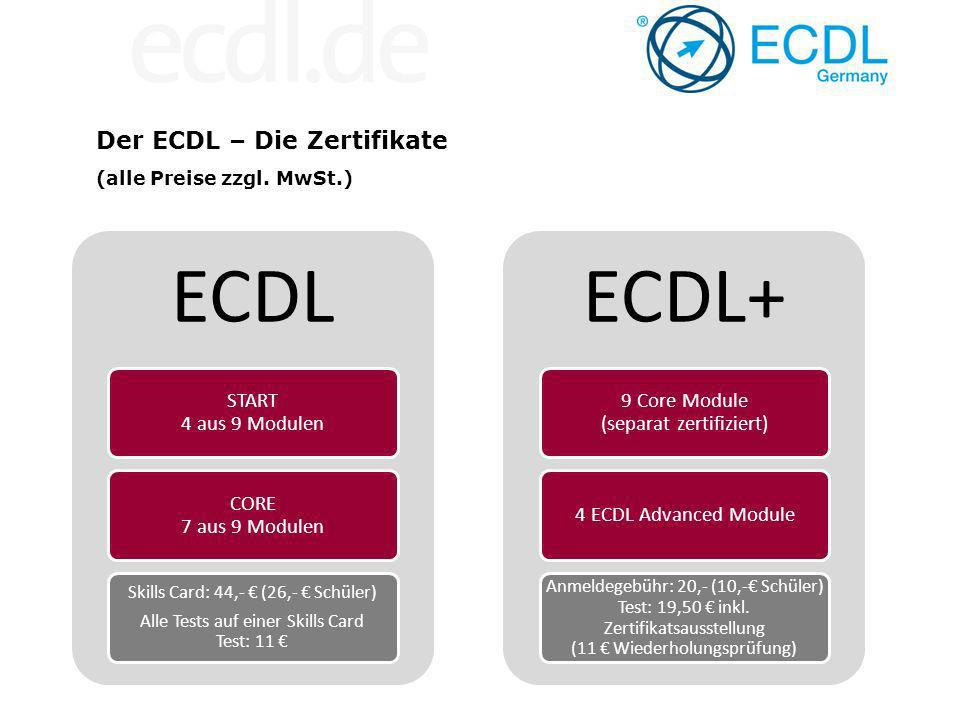 ECDL ECDL+ Der ECDL – Die Zertifikate START 4 aus 9 Modulen