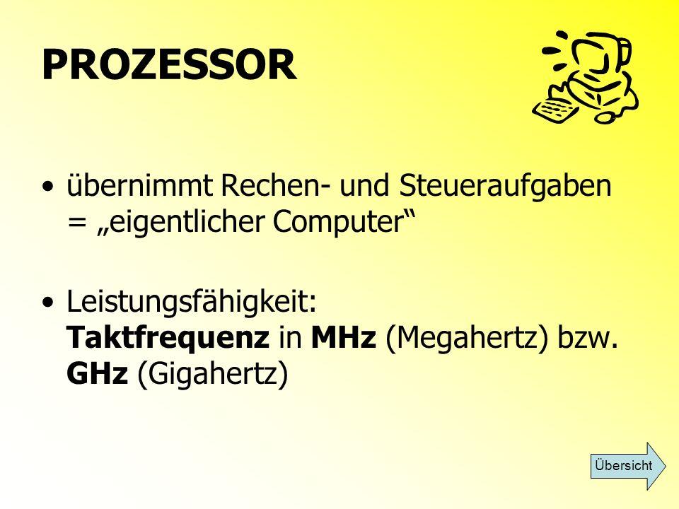 """PROZESSOR übernimmt Rechen- und Steueraufgaben = """"eigentlicher Computer Leistungsfähigkeit: Taktfrequenz in MHz (Megahertz) bzw. GHz (Gigahertz)"""