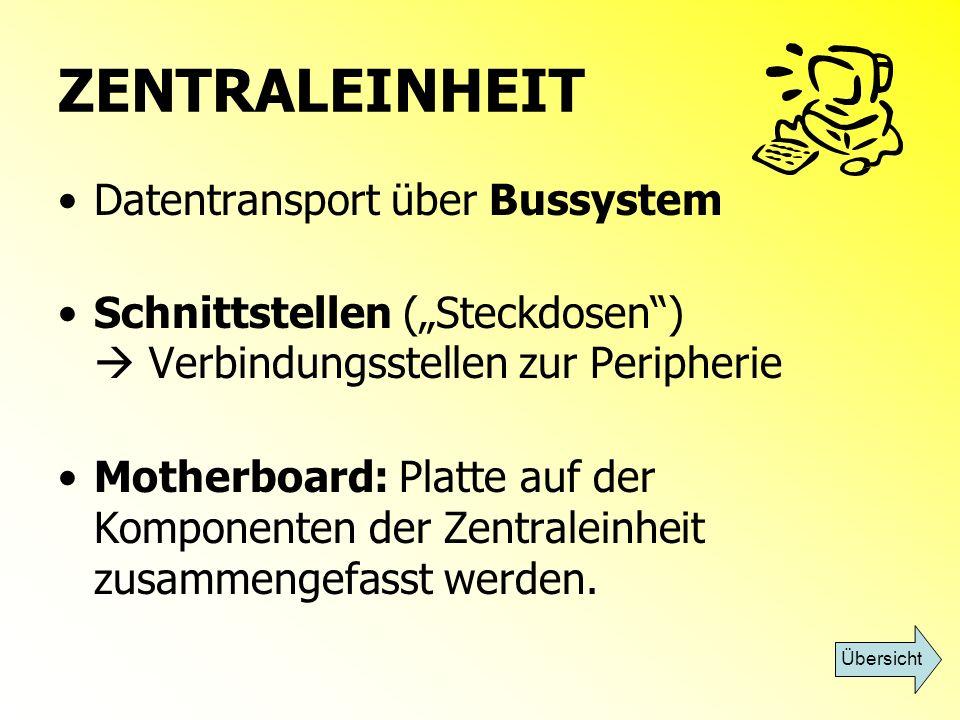 ZENTRALEINHEIT Datentransport über Bussystem