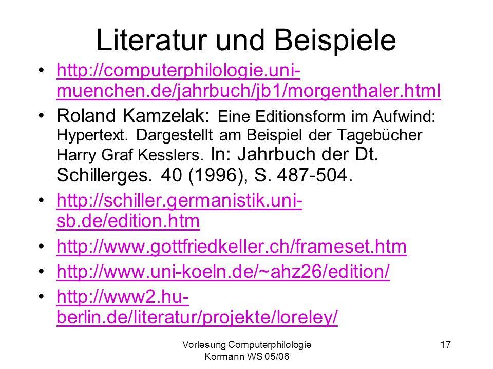 Literatur und Beispiele