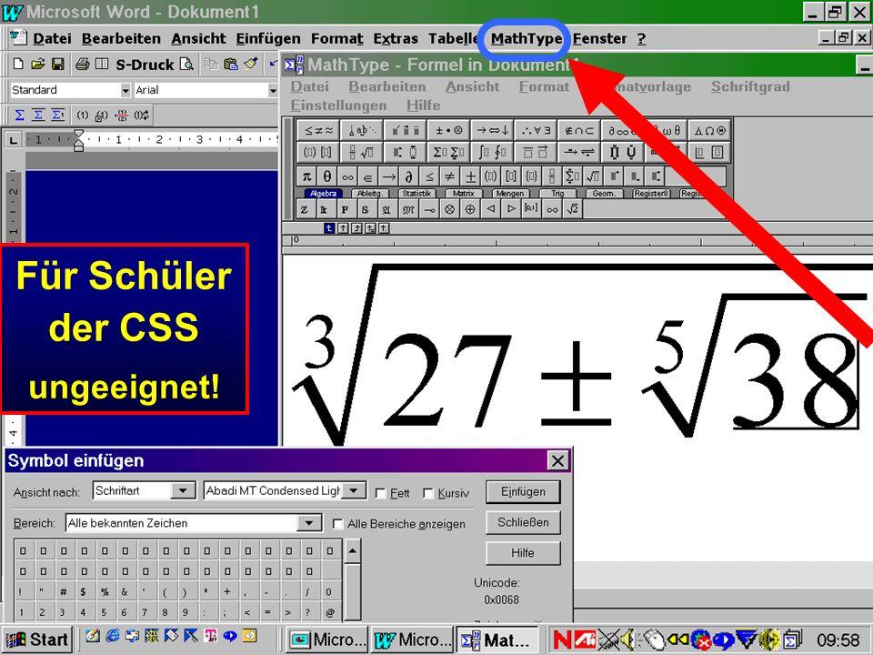 Für Schüler der CSS ungeeignet!