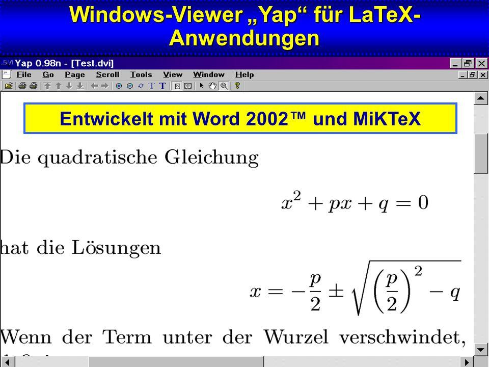 """Windows-Viewer """"Yap für LaTeX-Anwendungen"""