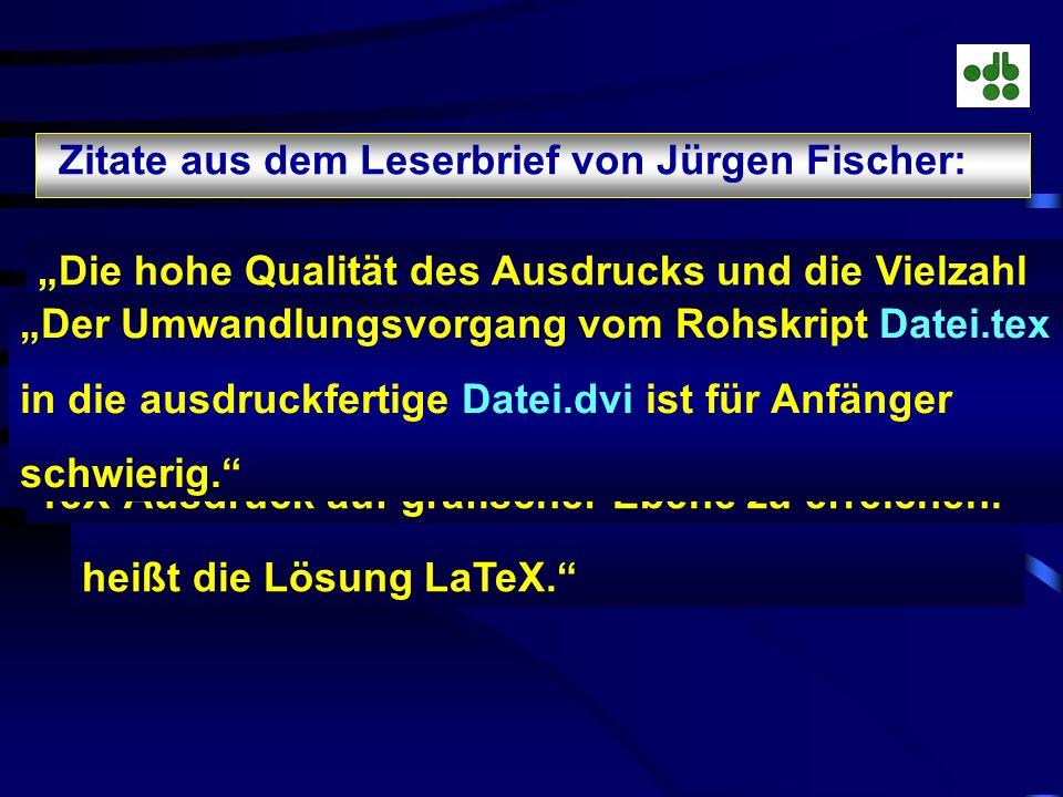 Zitate aus dem Leserbrief von Jürgen Fischer: