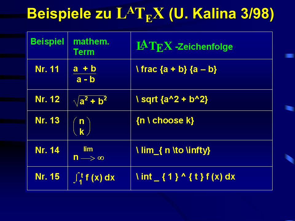 Beispiele zu LATEX (U. Kalina 3/98)
