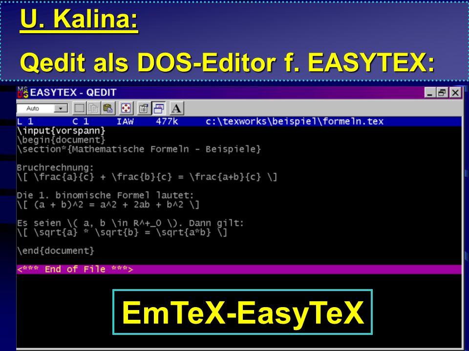U. Kalina: Qedit als DOS-Editor f. EASYTEX: EmTeX-EasyTeX