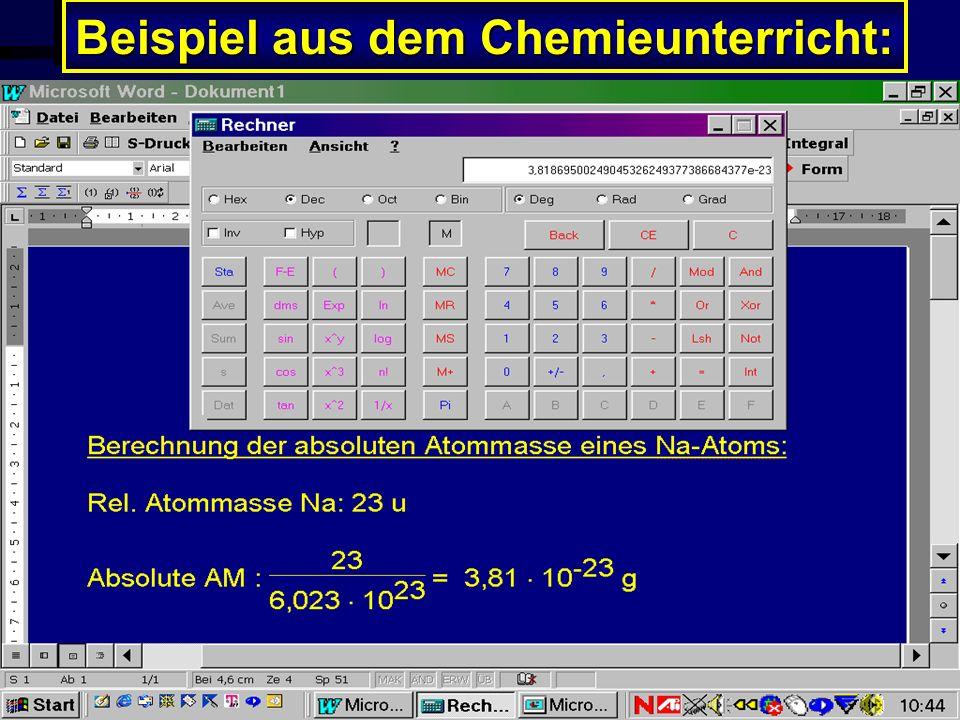 Beispiel aus dem Chemieunterricht: